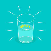 Big  shining glass of water. Drink water Infographic.  Flat desi — Stock Vector