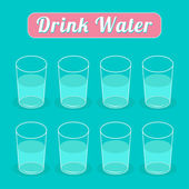 выпивайте восемь стаканов воды. инфографики. плоский дизайн. — Cтоковый вектор