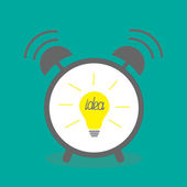 Alarm clock with yellow idea light bulb icon — Stock Vector