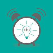 Radio-réveil avec l'icône ampoule idée — Vecteur