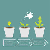 Idea bulb seed, watering can, dollar plant in pot — Vector de stock