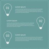 три шага бизнес инфографики с контурной лампочки — Cтоковый вектор