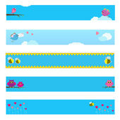Banner set with bird, bee, owl and flowers. — Wektor stockowy