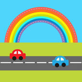 Cartoon cars over rainbow — Stock Vector