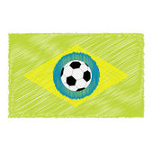 Football soccer ball on Brazil flag — Vettoriale Stock