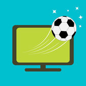 Football soccer ball and TV set — Vettoriale Stock
