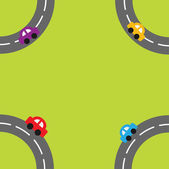 Roads and cartoon cars in the corners — Stockvector