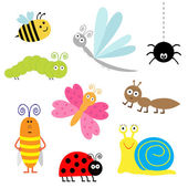 Cute cartoon insect set. — Wektor stockowy