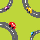 Roads in the corners and cartoon cars — Stockvector