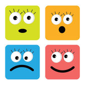 Set of cute funny face emotions — Stock Vector