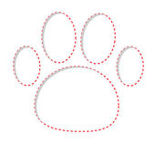 Paw print with red dash line — Stockvektor