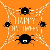 Four cartoon spider on the web — Stock Vector