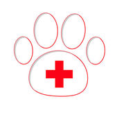 Paw print with red medical cross — Vector de stock