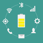Mobile icon set Battery inside dash line circle — Stok Vektör