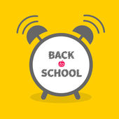 Alarm clock with chalk text yellow background  Back to school — Stock Vector