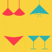 Swimsuit  martini glasses and lamp. — Stock Vector