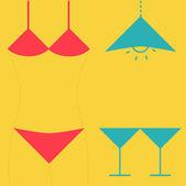 Swimsuit  martini glasses and lamp. — Vecteur