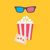 3D glasses big popcorn and ticket — Stock Vector
