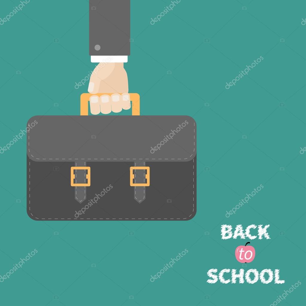 School bag diagram - Hand Holding Black School Bag Briefcase Stock Vector 51151271