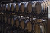 Barrels for wine in cellar — Stock Photo