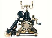Old telephone on white background — Stock Photo