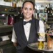 Waitress with tray bar — Stock Photo