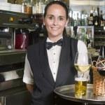 Waitress with tray bar — Stock Photo #33584071