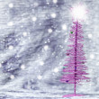 Purple Christmas tree with silver background — Stockfoto