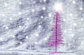 Purple Christmas tree with silver background — Stock Photo