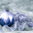 Christmas decorations blue and silver — Stock Photo
