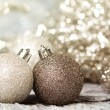 Christmas ornaments of gold and silver — Stock Photo #35285377