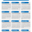 Calendar for year 2014 in Spanish, blue and white, vector — Stock Vector