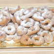 Tray with sugary Doughnuts — Stock Photo