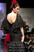 Jerez, Spain - FEBRUARY 9, 2014: Models walk during the Pasarela Flamenca Jerez 2014 — Stock Photo