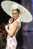 Jerez, Spain - FEBRUARY 9, 2014: Models walk during the Pasarela Flamenca Jerez 2014 — Stock Photo