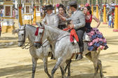 JEREZ DE LA FRONTERA, SPAIN-MAY 11: People mounted on a carriage — Stock Photo