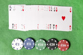 Deck of cards and casino chips — Stock Photo