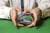 Hands shuffling cards casino — Stock Photo
