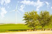 Venkovské krajiny s větrnými mlýny — Stock fotografie