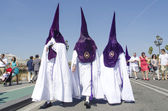 "SEVILLE. SPAIN - APRIL 13: Penitents of the brotherhood of ""La E — Stock Photo"