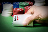 Dubbele aas in poker — Stockfoto