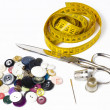 Buttons, meter, scissors, thimble and needle — Stock Photo #48968575