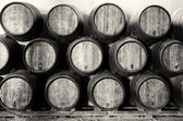 Whisky or wine barrels in black and white — Stock Photo