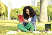 Young brunette reading book on park — Stock Photo