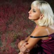 Thoughtful young woman blond — Stock Photo