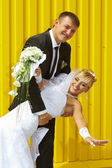 Bride and groom laugh — Stock Photo