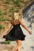 The girl in a black dress — Стоковое фото