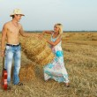 Couple of lovers in hay with guitar — Foto Stock #31416869
