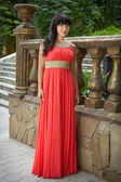 Lady in red — Stockfoto