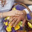 Hand of groom and bride with wedding rings — Stockfoto #33155379